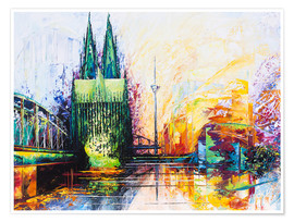 Premium poster  Cologne Cathedral Skyline colored - Renate Berghaus