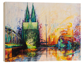 Wood print  Cologne Cathedral Skyline colored - Renate Berghaus
