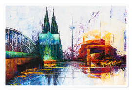 Premium poster Cologne Cathedral Skyline