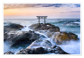 Premium poster Japanese Torii in the sea, Japan