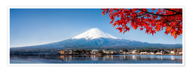 Poster Mount Fuji and Lake Kawaguchiko in autumn