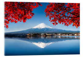 Acrylic glass  Mount Fuji at the lake Kawaguchiko in Japan - Jan Christopher Becke
