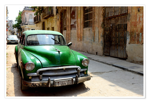 Premium poster Vintage car in the streets of Havana, Cuba