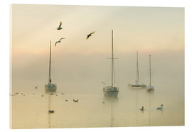 Acrylic print  A misty morning over Lake Windermere Lake District