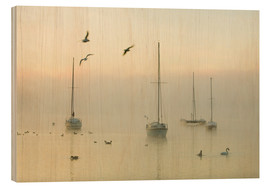Wood print  A misty morning over Lake Windermere Lake District