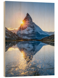Wood print  Riffelsee and Matterhorn in the Swiss Alps - Jan Christopher Becke