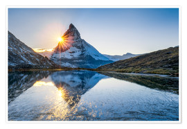 Poster  Riffelsee and Matterhorn in the Swiss Alps - Jan Christopher Becke