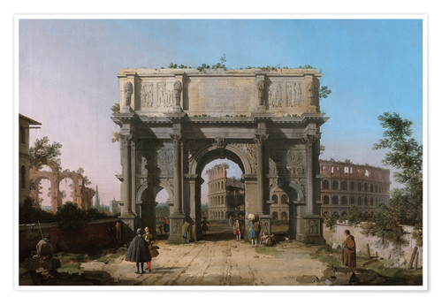 Premium poster Arch of Constantine with the Colosseum