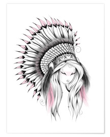 Premium poster  Indian Headdress Pink Version - LouJah