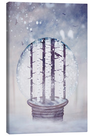 Canvas print  Snowglobe with birch trees and raven - Sybille Sterk