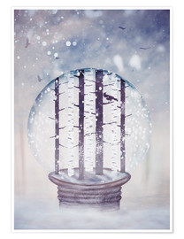 Sybille Sterk - Snowglobe with birch trees and raven
