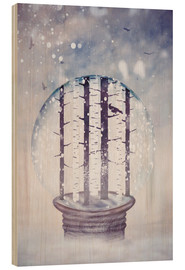 Wood print  Snowglobe with birch trees and raven - Sybille Sterk