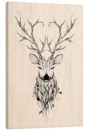 Wood print  Peaceful deer - LouJah