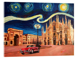 Acrylic print  Starry Night in Milan Italy Oldtimer and Cathedral - M. Bleichner