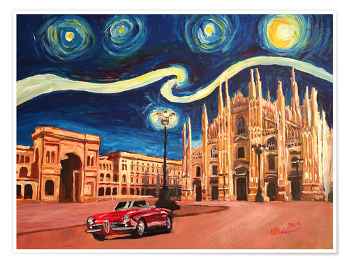 Premium poster Starry Night in Milan Italy Oldtimer and Cathedral