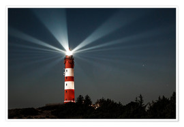 Premium poster Lighthouse night on Amrum