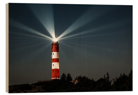 Wood print  Lighthouse night on Amrum - Oliver Henze