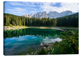 Canvas print  Panoramic view of karersee with Latemar mountain range, Dolomites, Italy - Peter Wey