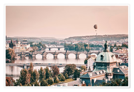 Premium poster Balloon over the bridges of Prague