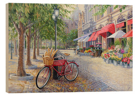 Wood print  Bicyclettes a Bruges - Paul Simmons