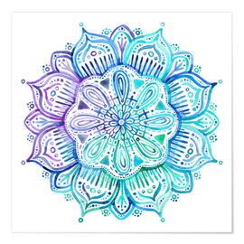 Premium poster  Mandala in blue and purple - Micklyn Le Feuvre