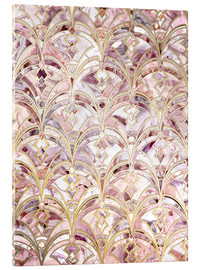 Acrylic glass  Dusty Rose and Coral Art Deco Marbling Pattern - Micklyn Le Feuvre