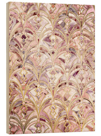 Wood print  Dusty Rose and Coral Art Deco Marbling Pattern - Micklyn Le Feuvre