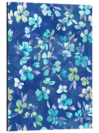 Alu-Dibond  Grown Up Betty - blue watercolor floral - Micklyn Le Feuvre
