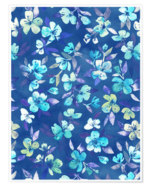 Premium poster Grown Up Betty - blue watercolor floral