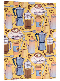 Acrylic print  Coffee Love on Yellow - Micklyn Le Feuvre