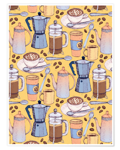 Premium poster Coffee Love on Yellow