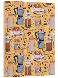 Wood print  Coffee Love on Yellow - Micklyn Le Feuvre