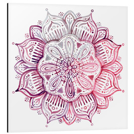 Aluminium print  Mandala in red and pink - Micklyn Le Feuvre