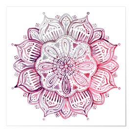 Premium poster  Mandala in red and pink - Micklyn Le Feuvre