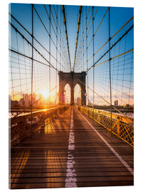 Acrylic glass  Brooklyn Bridge in the sunlight in New York City, USA - Jan Christopher Becke