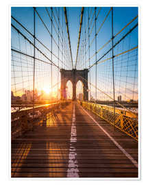 Premium poster  Brooklyn Bridge in the sunlight, New York City, USA - Jan Christopher Becke