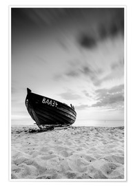 Premium poster Lonely Boat - Black/White | Rügen | Germany