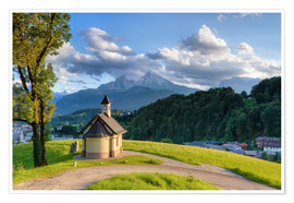 Premium poster Berchtesgaden Chapel at Lockstein in evening light