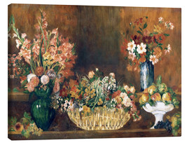 Canvas print  still life with flowers and fruit  - Pierre-Auguste Renoir