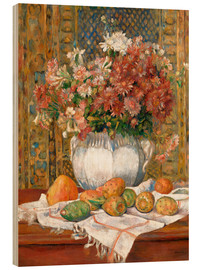 Wood  Still Life with Flowers and Prickly Pears - Pierre-Auguste Renoir