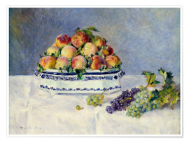Premium poster Still life with peaches and grapes