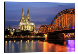 Alu-Dibond  Cologne Cathedral and Hohenzollern Bridge at night - Oliver Henze