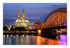 Poster  Cologne Cathedral and Hohenzollern Bridge at night - Oliver Henze