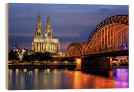Wood print  Cologne Cathedral and Hohenzollern Bridge at night - Oliver Henze
