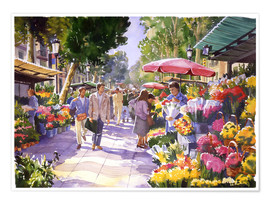 Premium poster  Flower market in Barcelona - Paul Simmons