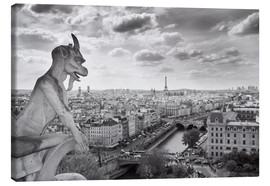 Canvas print  Notre Dame Gargoyle overlooks Paris
