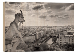 Wood print  Notre Dame Gargoyle overlooks Paris