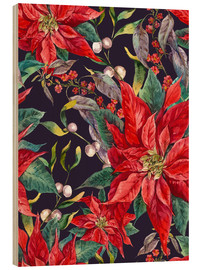 Wood print  Christmas floral pattern