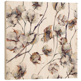 Wood print  Cotton Blossom