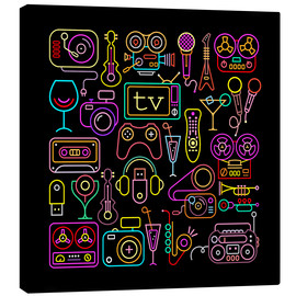 Canvas print  Entertainment icons